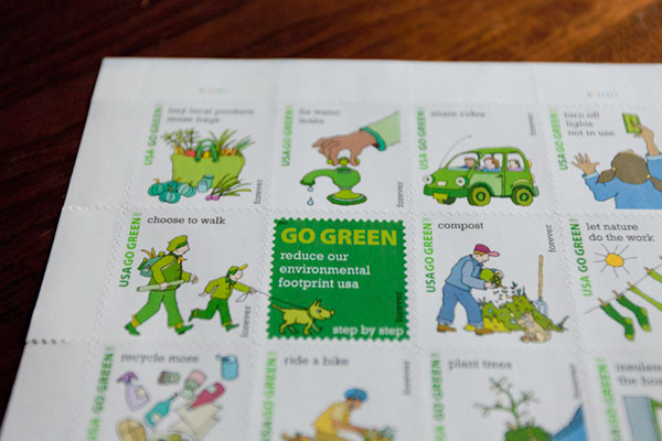 "Green Behavior: ""Go Green"" Post Office Stamps"